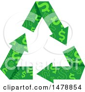 Clipart Of A Green Recycle Arrows With A Dollar Pattern Royalty Free Vector Illustration