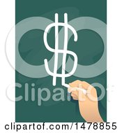 Clipart Of A Hand Drawing A Dollar Currency Symbol On A Chalk Board Royalty Free Vector Illustration by BNP Design Studio