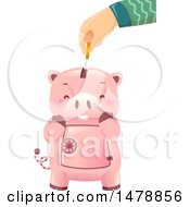 Hand Inserting A Coin Into A Cute Piggy Bank