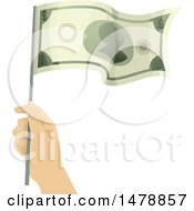 Clipart Of A Hand Waving A Dollar Bill Flag Royalty Free Vector Illustration