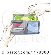 Clipart Of A Sketched Hand Taking Or Inserting Cash Money In A Wallet Royalty Free Vector Illustration