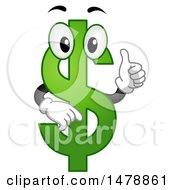 Clipart Of A Green USD Currency Symbol Giving A Thumb Up Royalty Free Vector Illustration by BNP Design Studio