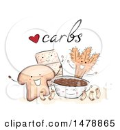 Clipart Of A Sketched Group Of Bread Pasta Crackers Wheat And Rice With Carbs Text Royalty Free Vector Illustration by BNP Design Studio