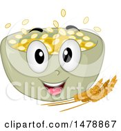 Clipart Of A Bowl Of Oatmeal Mascot Royalty Free Vector Illustration