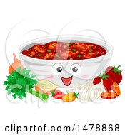 Clipart Of A Bowl Mascot Full Of Salsa With Ingredients Royalty Free Vector Illustration by BNP Design Studio