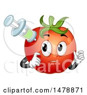 Clipart Of A Tomato Mascot Being Injected Royalty Free Vector Illustration by BNP Design Studio