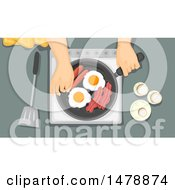 Clipart Of A Pair Of Hands Cooking Breakfast Royalty Free Vector Illustration