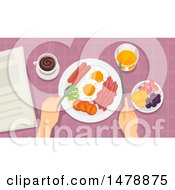 Clipart Of A Pair Of Hands Eating Breakfast Royalty Free Vector Illustration by BNP Design Studio