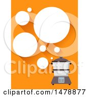 Clipart Of A Steamer With Bubbles On Orange Royalty Free Vector Illustration