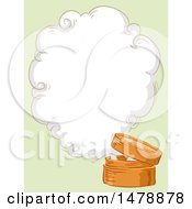 Clipart Of A Sketched Bamboo Steamer With A Steam Cloud And Copyspace Royalty Free Vector Illustration