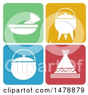 Clipart Of White Cooking Icons On Colorful Rounded Squares Royalty Free Vector Illustration