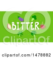 Clipart Of Bitter Foods And Text On Green Royalty Free Vector Illustration