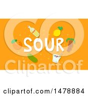 Clipart Of Sour Foods And Text On Orange Royalty Free Vector Illustration