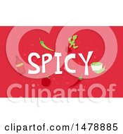 Clipart Of Spicy Foods And Text On Red Royalty Free Vector Illustration