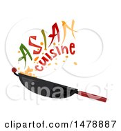 Clipart Of A Wok With Asian Cuisin Text Royalty Free Vector Illustration
