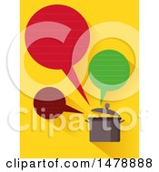 Clipart Of A Talking Pot With Speech Bubbles On Yellow Royalty Free Vector Illustration