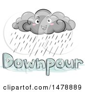 Clipart Of A Happy Cloud Character Over Downpour Text Royalty Free Vector Illustration