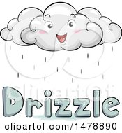 Clipart Of A Happy Cloud Character Over Drizzle Text Royalty Free Vector Illustration