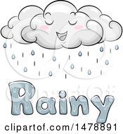 Clipart Of A Happy Cloud Character Over Rainy Text Royalty Free Vector Illustration