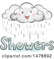 Clipart Of A Happy Cloud Character Over Showers Text Royalty Free Vector Illustration