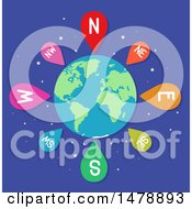 Clipart Of A Globe With Direction Pins Royalty Free Vector Illustration