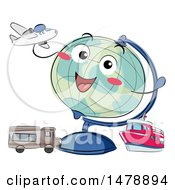 Desk Globe Mascot With Modes Of Transportation