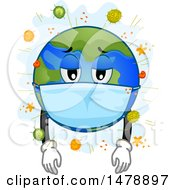 Clipart Of A Sick Planet Earth Wearing A Mask Surrounded By Viruses Royalty Free Vector Illustration by BNP Design Studio