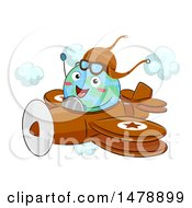 Clipart Of A Globe Mascot Aviatior Flying A Plane Royalty Free Vector Illustration