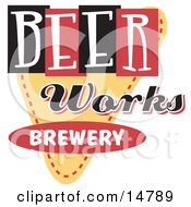 Vintage Beer Works Brewery Advertisement Clipart Illustration