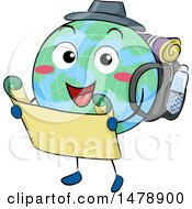 Clipart Of A Globe Mascot Hiker Holding A Map Royalty Free Vector Illustration by BNP Design Studio