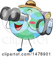 Clipart Of A Globe Mascot Traveler Looking Through Binoculars Royalty Free Vector Illustration