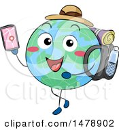 Clipart Of A Globe Mascot Traveler Using A GPS App On A Smart Phone Royalty Free Vector Illustration