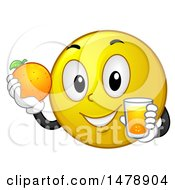 Clipart Of A Healthy Yellow Smiley Face Emoji Holding A Glass Of Orange Juice And Fruit Royalty Free Vector Illustration by BNP Design Studio