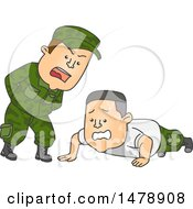 Clipart Of A Male Officer Shouting At An Army Soldier Doing Push Ups Royalty Free Vector Illustration by BNP Design Studio