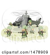 Clipart Of A Team Of Soldiers Emerging From A Helicopter With Rifles Royalty Free Vector Illustration