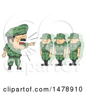 Clipart Of A Drill Seargant Shouting At Soldiers Royalty Free Vector Illustration by BNP Design Studio