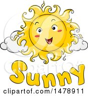 Happy Sun Mascot Over Sunny Text