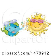 Clipart Of Happy Sun And Earth Characters With Cocktails And Sunglasses Royalty Free Vector Illustration by BNP Design Studio