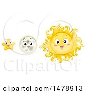 Clipart Of Happy Sun Moon And Star Mascots Royalty Free Vector Illustration by BNP Design Studio