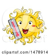 Happy Sun Mascot Holding Out A Thermometer