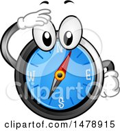 Clipart Of A Compass Mascot Shielding His Eyes And Looking Royalty Free Vector Illustration