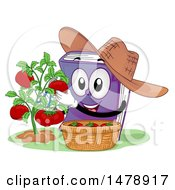 Clipart Of A Book Mascot Wearing A Hat And Harvesting Tomatoes Royalty Free Vector Illustration