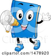 Clipart Of A Book Mascot Announcing With A Megaphone Royalty Free Vector Illustration by BNP Design Studio