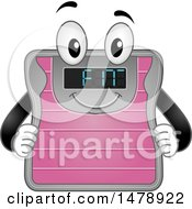 Clipart Of A Weight Scale Mascot Showing Fit On The Screen Royalty Free Vector Illustration by BNP Design Studio