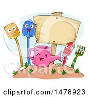 Clipart Of A Group Of Shovel Watering Can Garden Fork Trowel Spade Mascots By A Blank Sign Royalty Free Vector Illustration