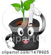 Seedling Plant Pot Mascot With A Marker