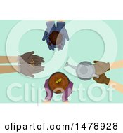 Clipart Of Gloved Gardener Hands With Seeds Compost Seedling And Watering Can Royalty Free Vector Illustration