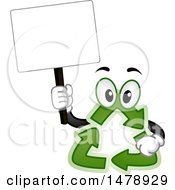 Clipart Of A Recycle Arrows Mascot Holding A Blank Sign Royalty Free Vector Illustration