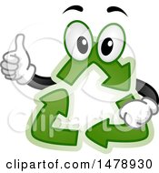 Clipart Of A Recycle Arrows Mascot Giving A Thumb Up Royalty Free Vector Illustration by BNP Design Studio