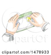 Clipart Of A Business Mans Hands Scratching A Lottery Card With A Coin Royalty Free Vector Illustration